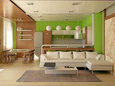 кухня и комната, объединенная в студию