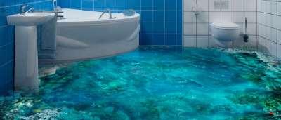 пол 3D в ванной