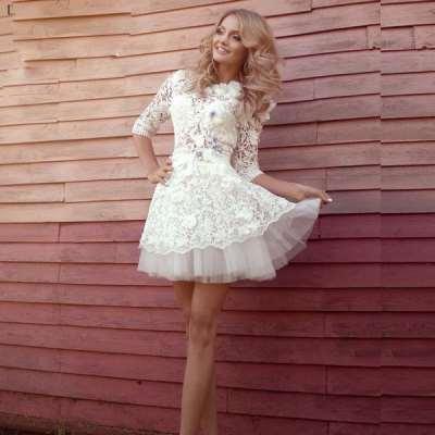 Элегантность и изящество: короткие свадебные платья